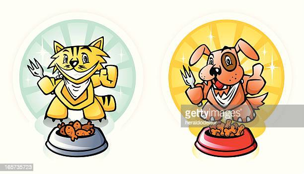 dog and cat food - dog eating stock illustrations, clip art, cartoons, & icons
