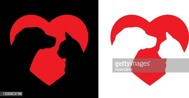 dog and cat heart icon - two animals stock illustrations