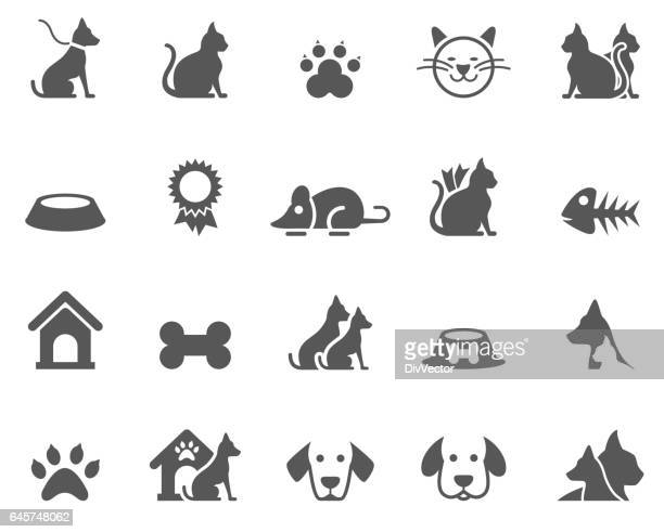 dog and cat icons - dog stock illustrations