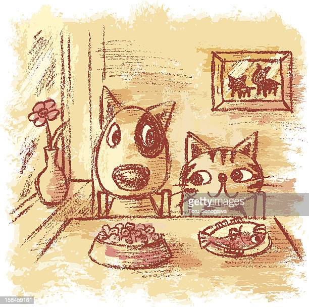 dog and cat in restaurant - pampered pets stock illustrations