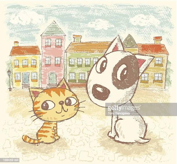 Perro y gato en la ciudad