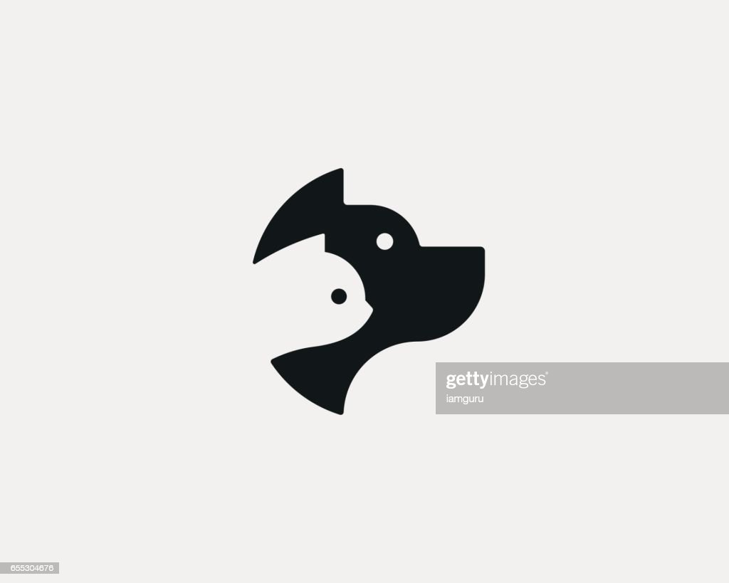 Dog and cat negative space logo design. Pet store logotype. Pet vector icon symbol.