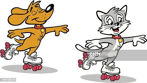 Dog and Cat Roller Skating