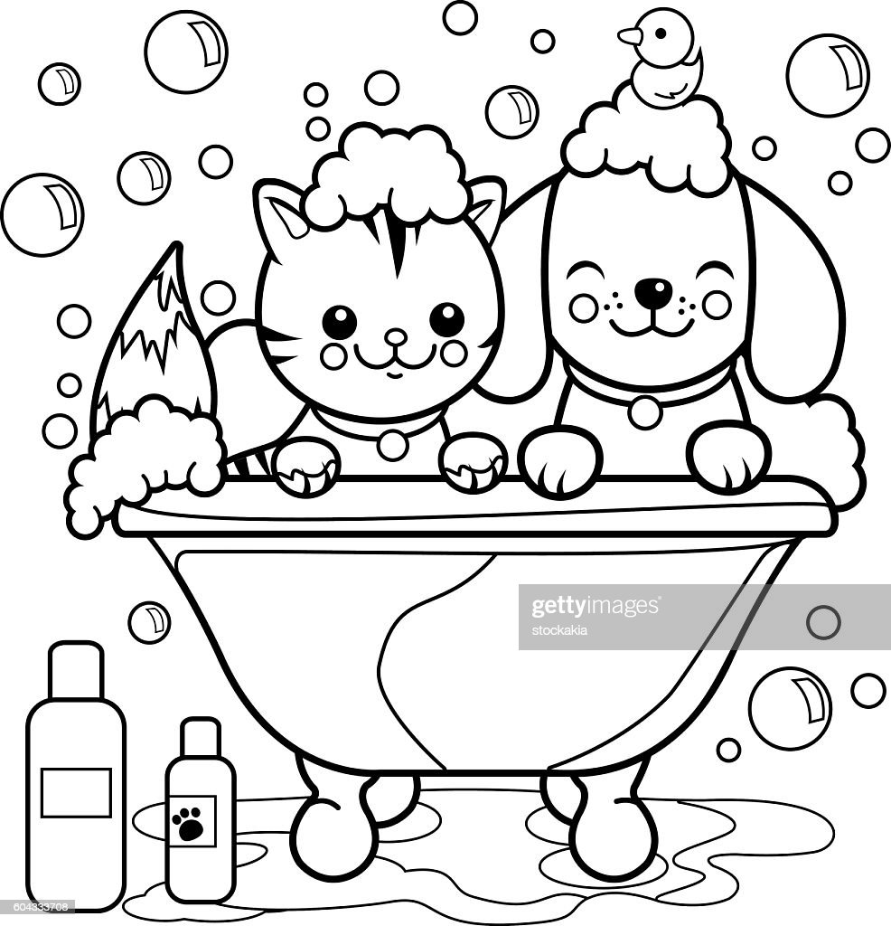 Dog And Cat Taking A Bath Coloring Page Stock-Illustration ...