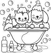 Dog and cat taking a bath coloring page.