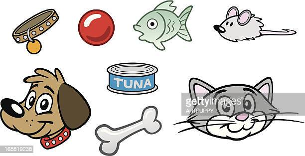 dog and cat things - cat food stock illustrations