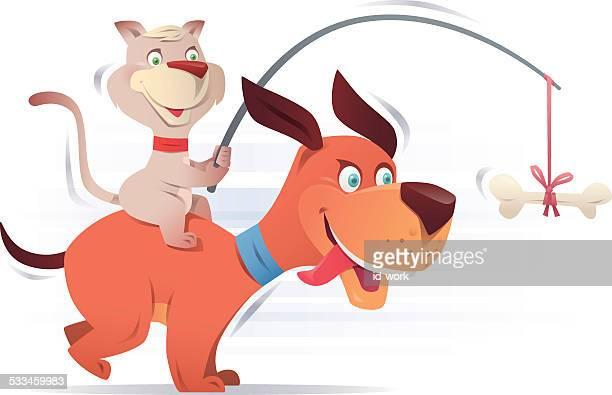 illustrations, cliparts, dessins animés et icônes de chien et chat - chien humour