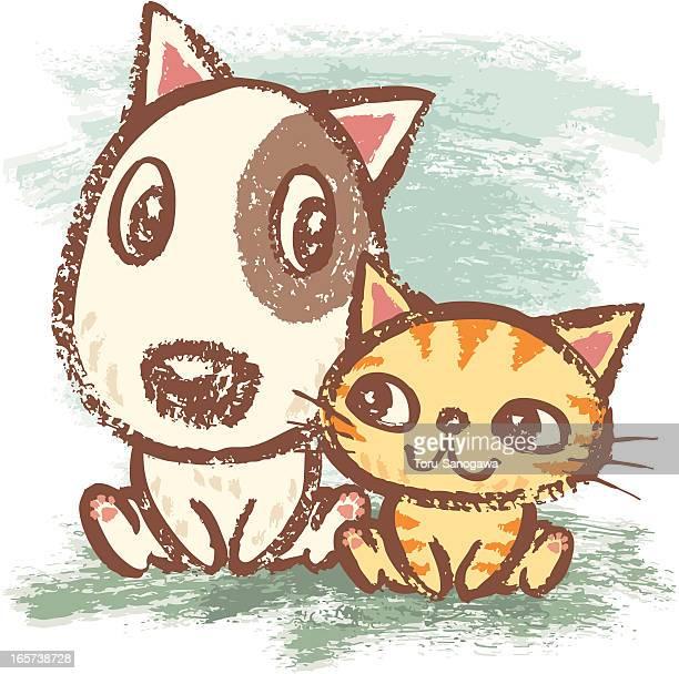 Perro y gato con buenas relaciones