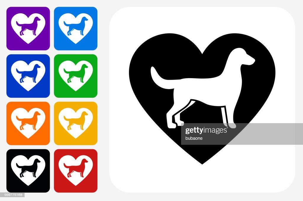 Hund und Herz Symbol Square Buttonset : Stock-Illustration