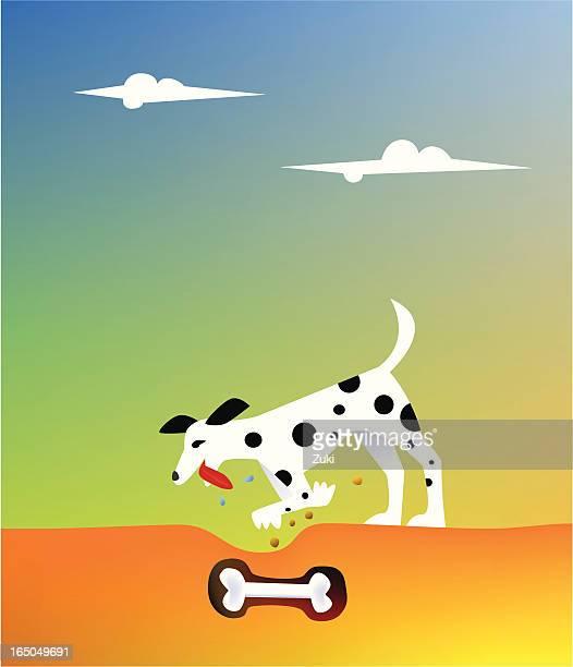 dog and his bone - animal saliva stock illustrations, clip art, cartoons, & icons
