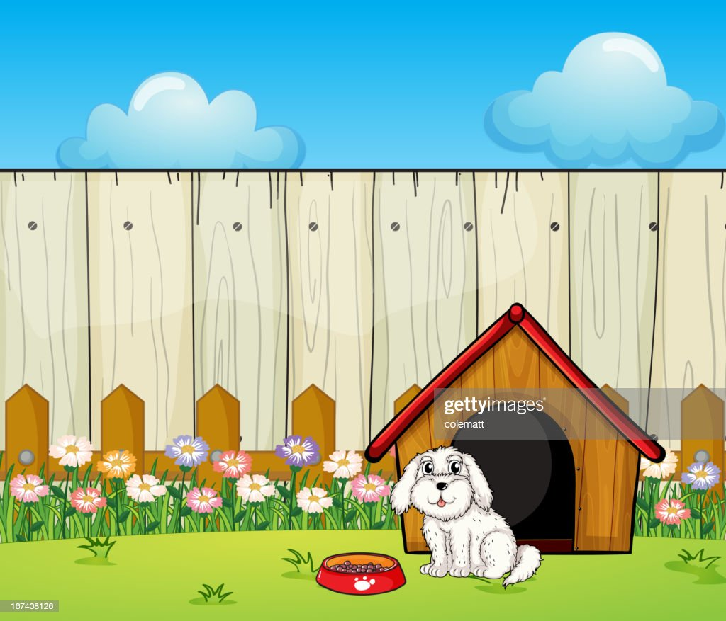 Dog and house inside the fence : Vector Art