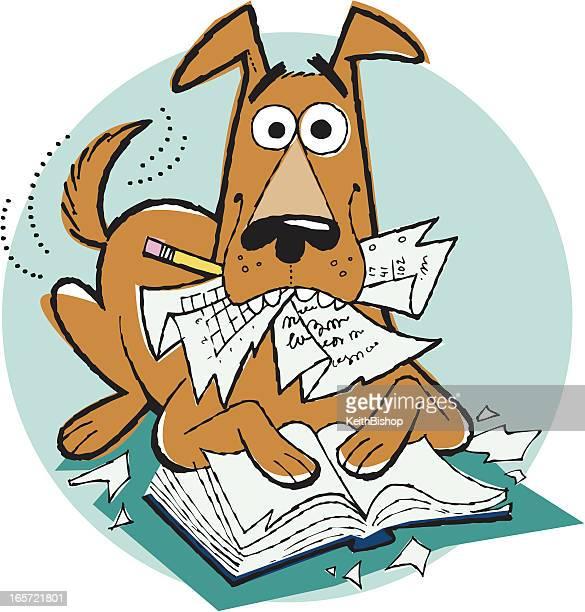 Dog Ate My Homework Cartoon, Pet, Reading, Education