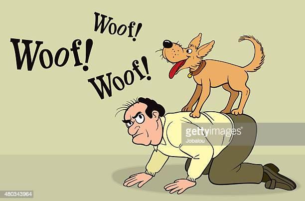 ilustrações, clipart, desenhos animados e ícones de cão barking na parte de trás do proprietário - engatinhando