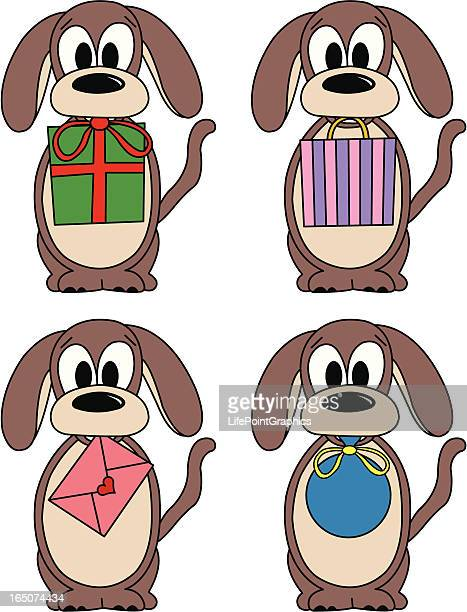 dog bearing gifts - anniversary card stock illustrations