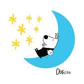 Dog & Bird in the Moon