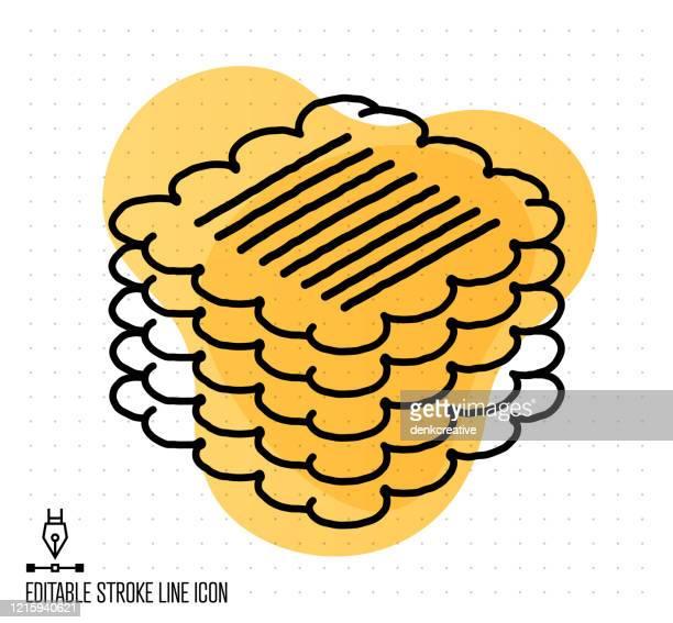 dog biscuit vector editable line illustration - digestive stock illustrations