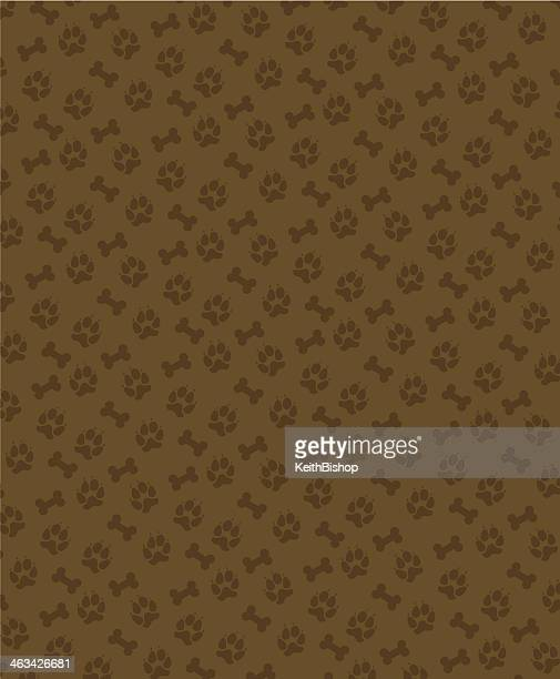 dog bone and paw background - pet equipment stock illustrations, clip art, cartoons, & icons