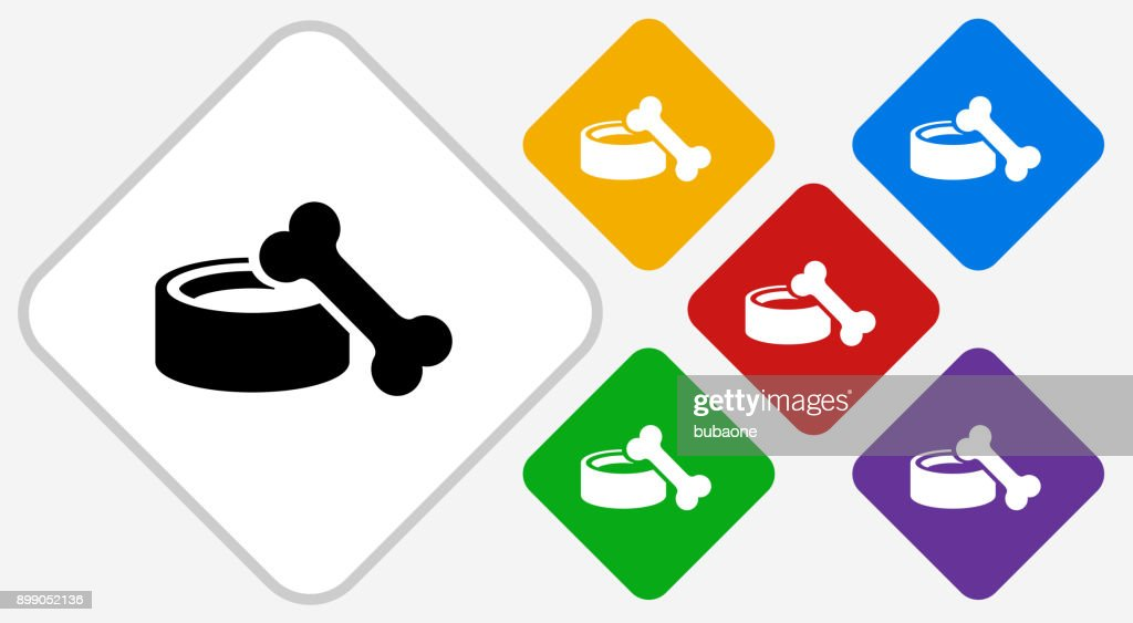 Dog Bowl and Bone Color Diamond Vector Icon : stock illustration