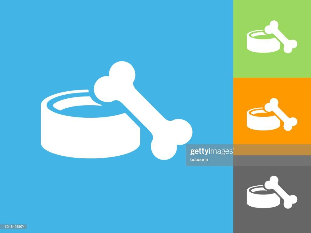 Dog Bowl and Bone Flat Icon on Blue Background : stock illustration