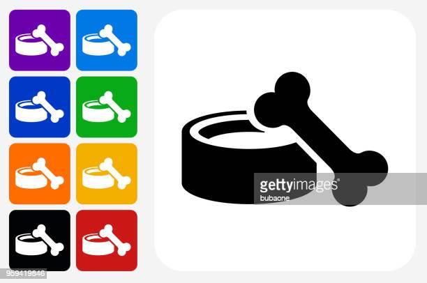 dog bowl and bone icon square button set - dog bowl stock illustrations, clip art, cartoons, & icons