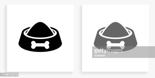 dog bowl black and white square icon - dog bowl stock illustrations, clip art, cartoons, & icons