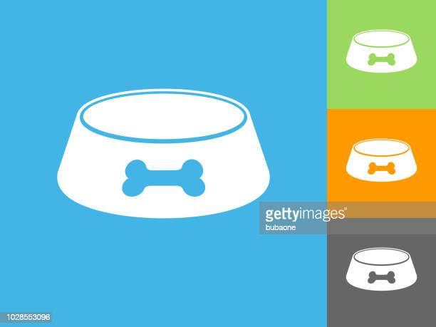 dog bowl  flat icon on blue background - dog bowl stock illustrations, clip art, cartoons, & icons