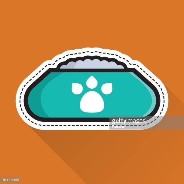 dog bowl icon - dog bowl stock illustrations, clip art, cartoons, & icons