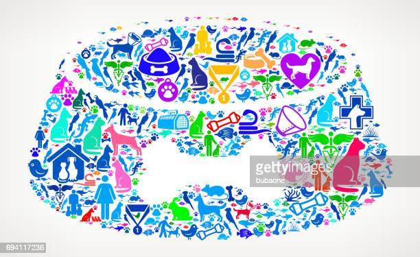 Dog Bowl  Pets and Animals Vector Icon Background
