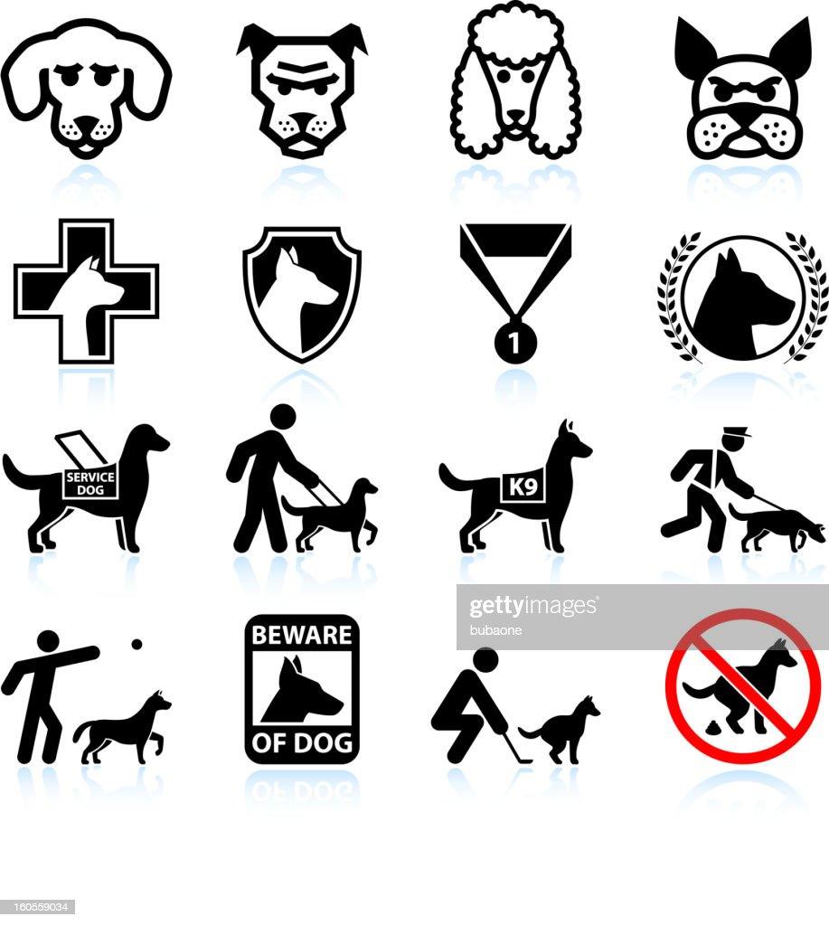 Dog breeds black and white royalty free vector icon set : stock illustration