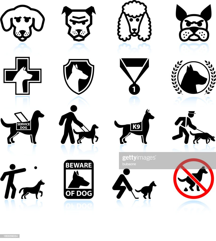 Dog breeds black and white royalty free vector icon set