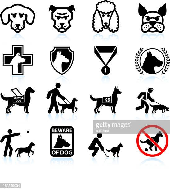 dog breeds black and white royalty free vector icon set - dog leash stock illustrations