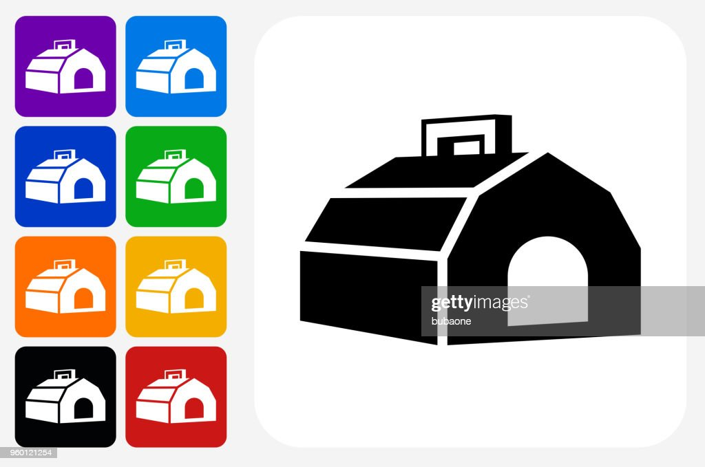 Hund Carrier Symbol Square Buttonset : Stock-Illustration