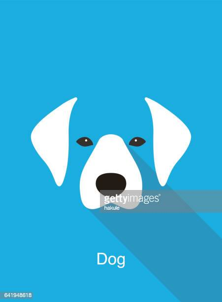dog cartoon face, flat animal face icon vector