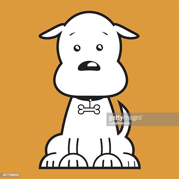 ilustrações, clipart, desenhos animados e ícones de cão dos desenhos animados-ilustração - vista frontal