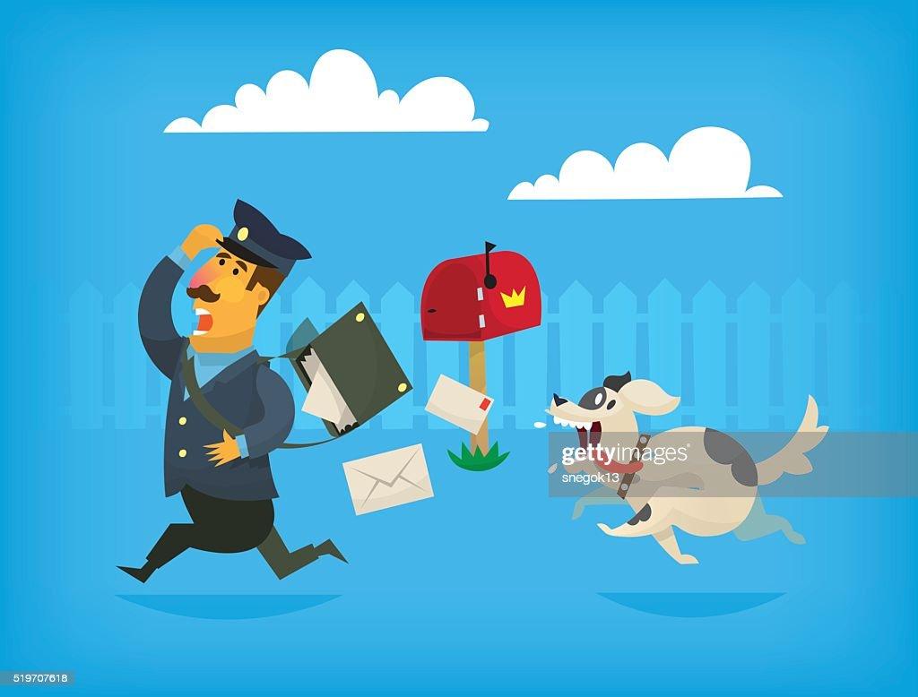 Dog chasing a mailman. Illustration
