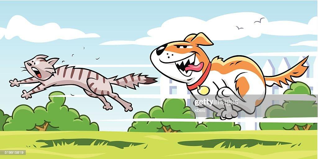 Dog Chasing Cat : stock illustration