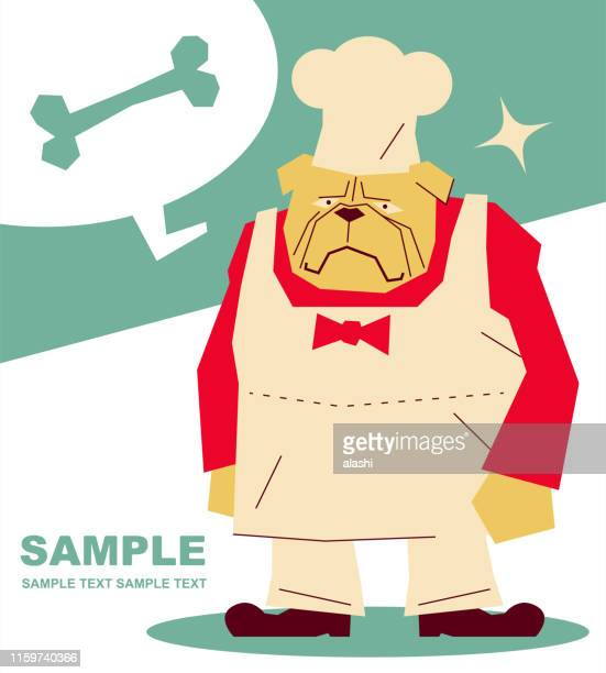 dog (bulldog or pug) chef with chef's hat and apron and dog bone - anthropomorphic foods stock illustrations, clip art, cartoons, & icons