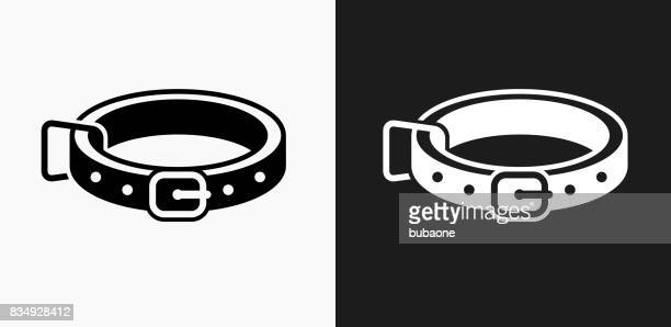 Dog Collar Icon on Black and White Vector Backgrounds