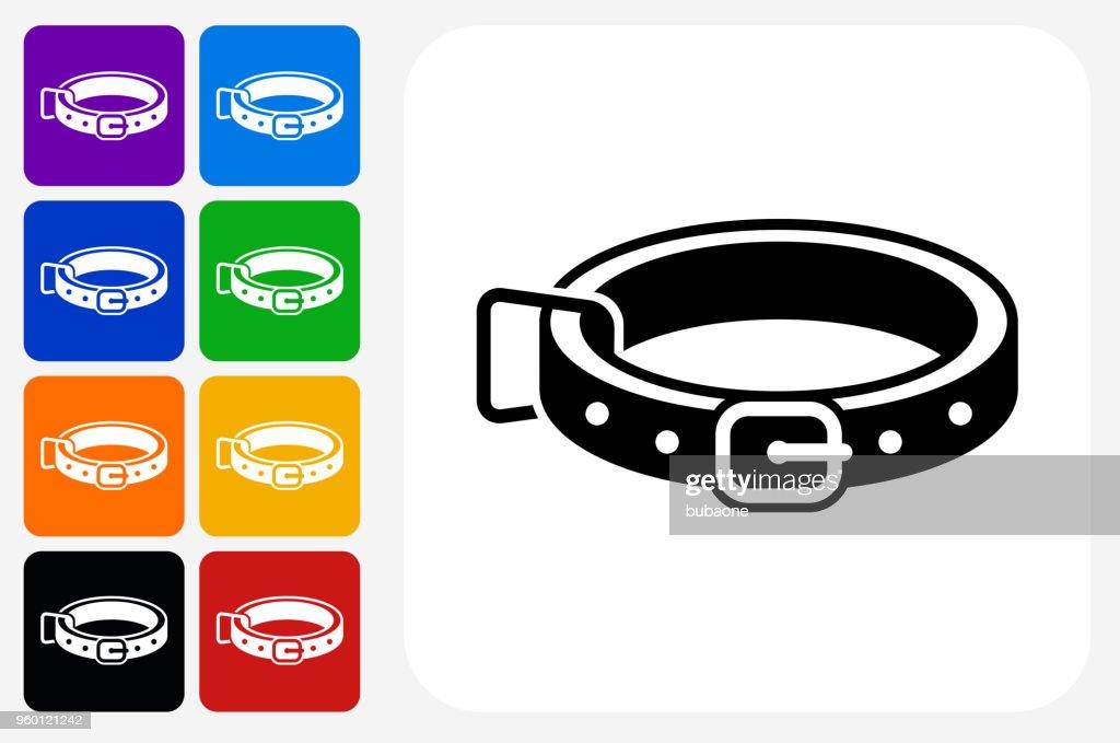 Dog Collar Symbol Square Buttonset : Stock-Illustration