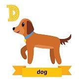 Dog. D letter. Cute children animal alphabet in vector