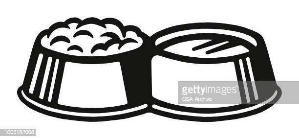 dog dishes of food and water - dog bowl stock illustrations, clip art, cartoons, & icons