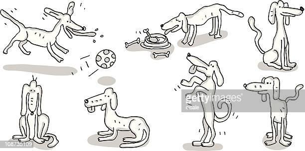 dog doodles - dog eating stock illustrations, clip art, cartoons, & icons
