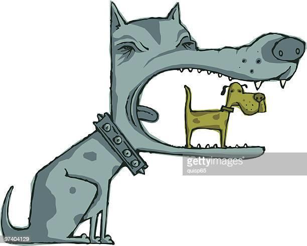 dog eat doggy - dog eating stock illustrations, clip art, cartoons, & icons