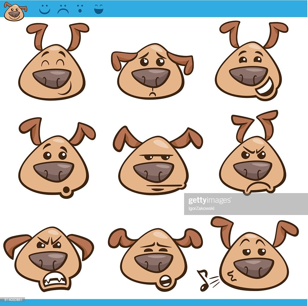 dog emoticons cartoon illustration set