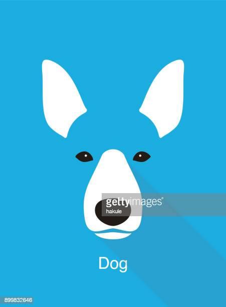 dog face flat icon design, vector illustration