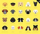 Dog Faces Icon Cartoon 3