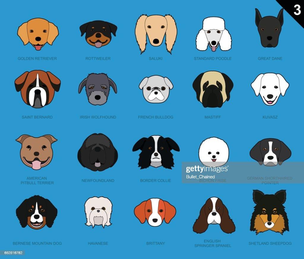 Dog Faces Stroke Cartoon Set 3