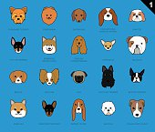 Dog Faces Stroke Icon Cartoon