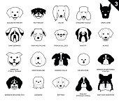 Dog Faces Stroke Monochrome Icon Cartoon 3