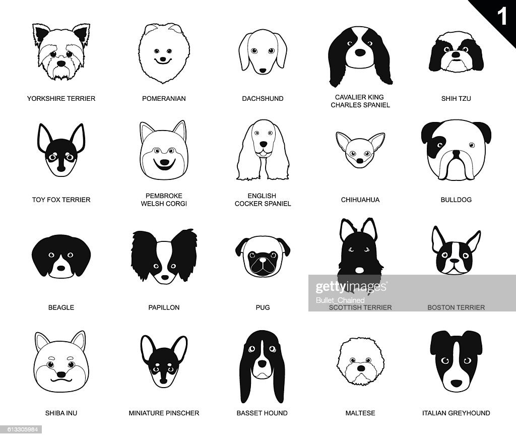 Dog Faces Stroke Monochrome Icon Cartoon